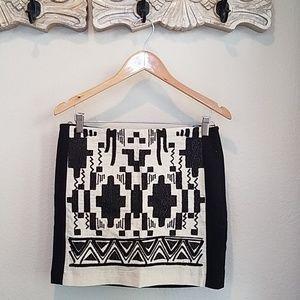 ZARA black & beige tribal print skirt